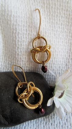 gold chainmaille earrings
