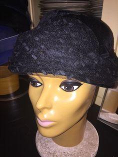 Vintage Black Velvet &Lace Bucket style with chin elastic    eBay