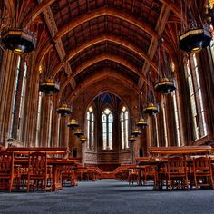 I think there are library shelves on the walls, but I absolutely want to read under that vaulted ceiling.
