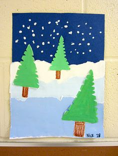 winter landscape' by 2nd grade is great because it covers a lot of art lessons in one: tints, foreground, middleground, and background, and we even talked about atmospheric perspective!