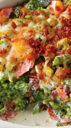 Creamy Broccoli Bacon Bake ~ Broccolis, carrots, green onions and bacon are sinking in milk, cream cheese and cheddar cheese which makes the dish so outstanding and appealing, no one could resist.