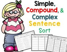 Simple, Compound, and Complex Sentence Sort.This fun activity has students cutting, sorting and pasting simple, compound, and complex sentences in the correct column. Great for review, homework, and test prep.Contents: 4 grammar posters 2 worksheets 1 answer keyEnjoy!Need worksheets?SIMPLE, COMPOUND, COMPLEX SENTENCES - producing, expanding, arranging sentencesor task cards?SIMPLE or COMPOUND?