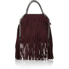 Stella McCartney The Falabella mini fringed faux brushed-leather... ($1,865) ❤ liked on Polyvore featuring bags, handbags, shoulder bags, red, purse, red shoulder bag, leather purse, leather shoulder bag and mini shoulder bag