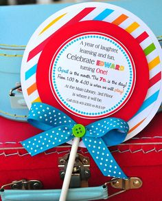 Lollipop Invitations in Primary Colors by thepaperkingdom on Etsy, $38.00