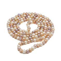 Colier lung ZEEme perle de cultură alb caisă liliac