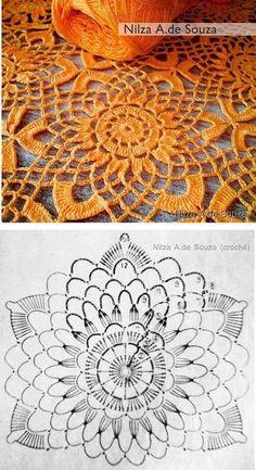 New Ideas For Crochet Flowers Pattern Vintage Crochet Tablecloth Pattern, Crochet Placemats, Crochet Square Patterns, Crochet Mandala, Crochet Flower Patterns, Crochet Diagram, Crochet Squares, Crochet Doilies, Crochet Flowers