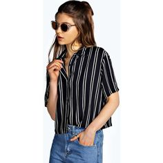 Boohoo Ivy Striped Short Sleeve Boxy Shirt ($22) ❤ liked on Polyvore featuring tops, navy, crop top, striped shirt, ribbed crop top, long sleeve crop top and flat top