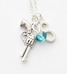 Personalized Gun Necklace Pistol Necklace Monogram Gun Necklace Silver Pistol Necklace Revolver Necklace Letter Necklace Police Necklace by SmittenKittenKendall on Etsy