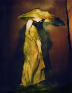 paolo roversi. guinevere in yellow dress, paris, 1996.