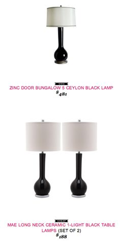 #copycatchicfind #ZincDoor #Bungalow5 Ceylon #Black #Lamp $481 - vs - #Overstock Mae Long Neck Ceramic Black Table Lamps (set of 2) $188