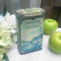 Antique Kwatta Olanda Cocoa Tin Litho Box Cocao Alcalinse Decorative Advertising Canister Blue delft Holland dutch kitchen decor by WonderCabinetArts