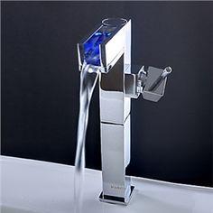 Awesome Farbwechsel LED Wasserfall Bad Waschtischarmatur tall