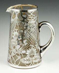 Art Nouveau Silver Overlay Pitcher.