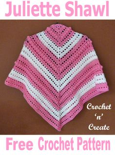 Free Crochet Pattern Juliette Shawl UK - Wear this lovely shawl backwards or to to the front, it is made in double knitting yarn using a hook so it crochets up nice and soft. Made in easy treble crochet and crochet stitches, hope you enjoy. All Free Crochet, Crochet For Kids, Easy Crochet, Crochet Designs, Knitting Designs, Crochet Patterns, Crochet Ideas, Crochet Ball, Crochet Gifts