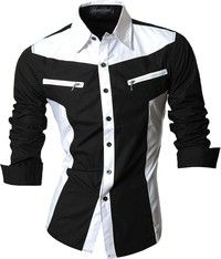 Wish | Rock Mens Simple Style Dress Casual Shirt Slim Fit Trend Fashion 4 Colors S M L XL XXL R_Z018