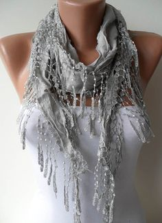 New - Gift - Gray Scarf- Light Gray Scarf with Gray Lace Trim Edge $15.90