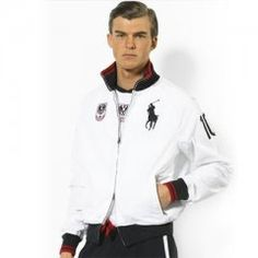 cce03326126 Ralph Lauren Mens 2008 Flag Track Jacket in White
