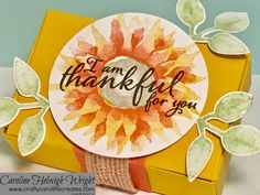 CraftyCarolineCreates: Painted Harvest Gift Box - Video Tutorial with New Stampin' Up Product Thanksgiving Cards, Thanksgiving Treats, Thanks Card, Hand Stamped Cards, Stampin Up Catalog, Small Cards, Card Tutorials, Halloween Cards, Craft Fairs