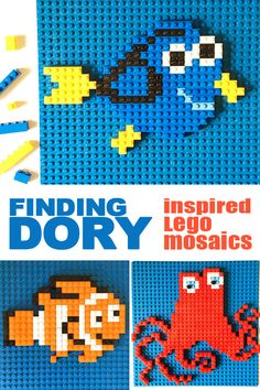 Finding Dory is finally here! We are so excited that we are celebrating its release with a new set of Lego mosaic patterns. Three fun designs in one totally free prinatble. Lego Activities, Fun Activities For Kids, Activity Ideas, Manual Lego, Lego Challenge, Lego Wall, Lego Animals, Lego Club, Lego Craft