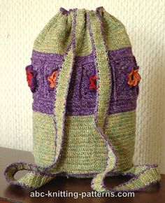 ABC Knitting Patterns - Woodland Meadow Crochet Backpack.