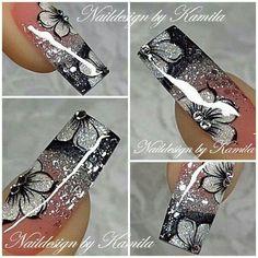 Silver and black Bling Acrylic Nails, Silver Nails, Best Acrylic Nails, Fancy Nails, Cute Nails, Silver Nail Designs, Acryl Nails, Summer Toe Nails, Exotic Nails