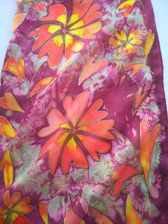 Love is in My Mind. Red Flowers Hand Painted Silk by SilkLetters, $44.00