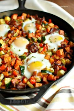 Paleo & gluten-free! Sweet Potato Breakfast Skillet with Bacon Recipe -AllergyFreeAlaska