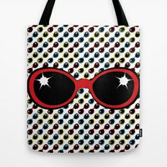 Cool Retro Red Sunglasses Tote Bag by M.M. Anderson Designs - $22.00