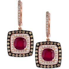 Red Velvet by Effy Ruby (2-7/8 ct. t.w.) and Diamond (3/4 ct. t.w.)... ($1,598) ❤ liked on Polyvore featuring jewelry, earrings, no color, diamond jewelry, rose gold drop earrings, 14 karat gold earrings, square diamond earrings and 14k diamond earrings