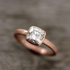 Cushion Cut Moissanite Engagement Ring in 14k by onegarnetgirl, $1198.00