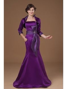 Satin Strapless Sweep Train Mermaid Mother Of The Bride Dress with Sash and Jacket