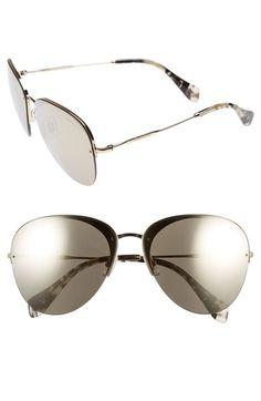 02f6e5ec61 MIU MIU 60Mm Semi Rimless Aviator Sunglasses.  miumiu