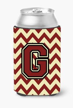 Letter G Chevron Maroon and Gold Can or Bottle Hugger CJ1061-GCC
