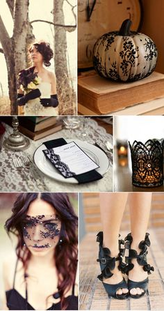 I love the black lace on white pumpkins idea for next halloween -- tres chic!