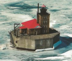 CEN Port Austin MI Lighthouse NICE Aerial View Lake Huron Thumb Area Lighthouse Marvin Aerial Card K21083 Unsent1