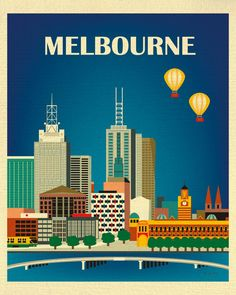 Melbourne, Australia Vertical Skyline - 8 x 10 City Wall Art Poster Print for Home, Office, and Nursery - style E8-O-MEL