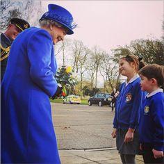 agirlslittleworld:  Queen Elizabeth greeted children on a visit to RAF Marham, Norfolk, February 3, 2014