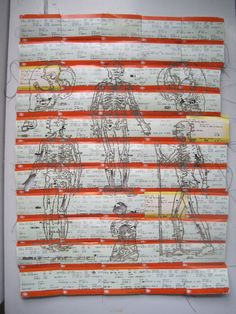 Kayleigh Wallace: skeleton laser cut / machine stitched train ticket collage