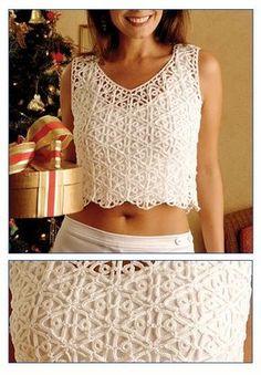 Irish lace, crochet, crochet patterns, clothing and decorations for the house, crocheted. Top Crop Tejido En Crochet, T-shirt Au Crochet, Crochet Bolero, Cardigan Au Crochet, Mode Crochet, Crochet Shirt, Crochet Woman, Crochet Stitch, Crochet Summer Tops