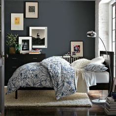 Bedroom idea.  Blue walls.
