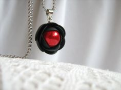 Black and red rose flower  polymer clay pendant with stainless steel ball chain and Czech pearl bead