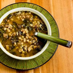 Ground Turkey and Barley Soup with Mushrooms and Spinach [#SouthBeachDiet friendly from Kalyn's Kitchen]