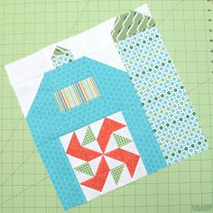 "Bee In My Bonnet: The Quilty Barn Along.Silo Barn 3 and a ""Peas and Carrots"" block tutorial! House Quilt Patterns, House Quilt Block, House Quilts, Baby Quilts, Quilt Blocks, Quilting Tips, Quilting Projects, Quilting Designs, Art Quilting"