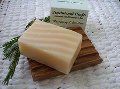 Rosemary & Tea Tree: Natural Handmade Shampoo Bar - 4.25oz/120g - Normal to Dry Hair - Palm Oil and SLS Free