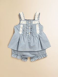 Pretty texture and soft, flattering color    Ralph Lauren - Infant's Gingham Top & Bloomers Set - Saks.com