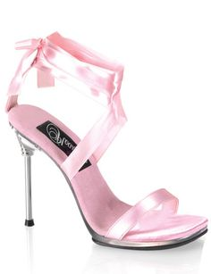 Lace Up Ribbon Sandal with 4.5 Inch Metal Heel