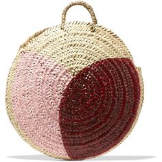 Vanessa Seward Dinard painted straw tote ($185) ❤ liked on Polyvore featuring bags, handbags, tote bags, pink, pink handbags, red tote, handbags totes, straw tote handbags and pink tote bags