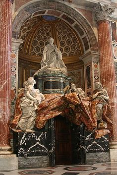 Bernini's last sculpture, the tomb of Pope Alexander V11 in St Peter's Basilica, Rome. 1671-1678. The leading Baroque sculptor of the age, he completed or designed hundreds of major works during his lifetime, including the famous Roman fountains, the |Piazza San Pietro and it colonnades, and the Ponte Sant' Angelo.