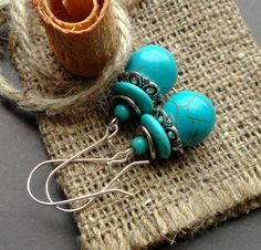 Cute earrings with turquoise. Earrings Dangle. blue earrings