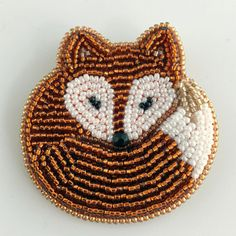 Sleeping Fox Brooch, Beaded Fox Pin, Cute Gift for Mother's Day, Idea for Fox Loving Best Friend, Colleague, Woodland Animal Jewellery